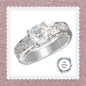 Sterling Silver 7mm Round Cubic Zirconia Ring